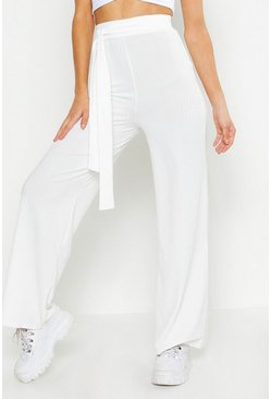 Womens Ivory Tie Waist Rib Knit Wide Leg Trouser