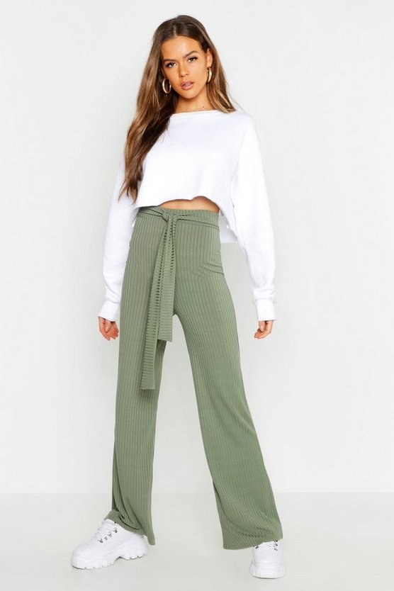 Womens Khaki Tie Waist Rib Knit Wide Leg Trouser
