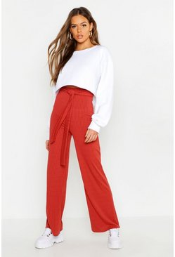Womens Terracotta Tie Waist Rib Knit Wide Leg Trouser