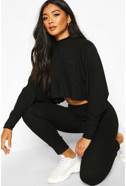 Womens Black Crop Batwing Boxy Rib Knit Lounge Set