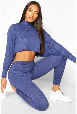 Denim-blue Crop Batwing Boxy Rib Knit Lounge Set