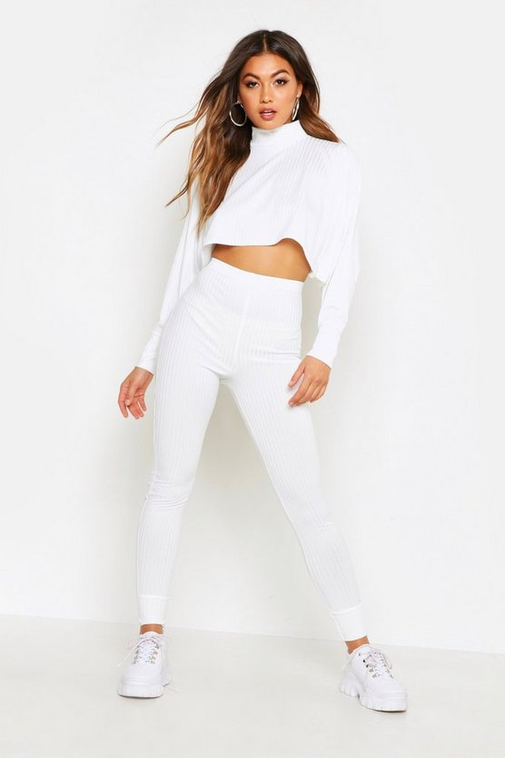 Womens Ivory Crop Batwing Boxy Rib Knit Lounge Set