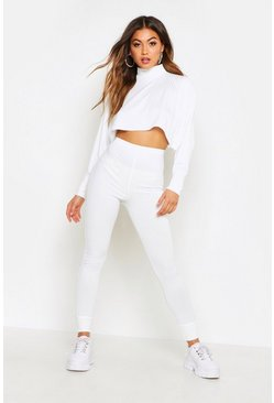 Ivory Crop Batwing Boxy Rib Knit Lounge Set