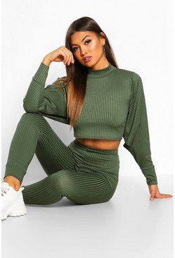 Womens Khaki Crop Batwing Boxy Rib Knit Lounge Set