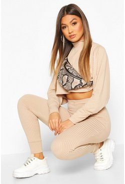 Womens Stone Crop Batwing Boxy Rib Knit Lounge Set
