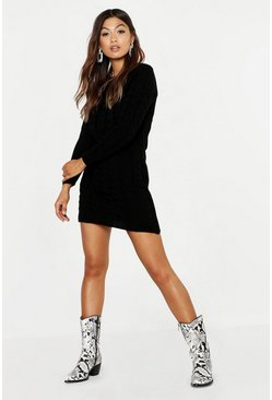 Womens Black Cable Knit Midi Dress
