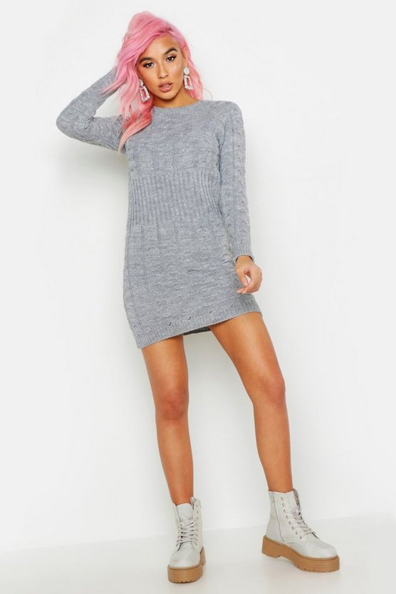 Grey Cable Knit Midi Dress
