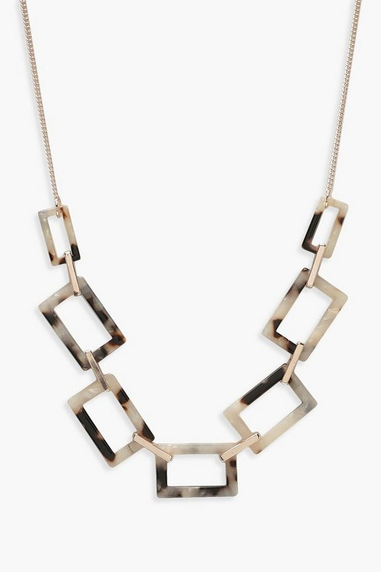 Rectangle Linked Resin Necklace
