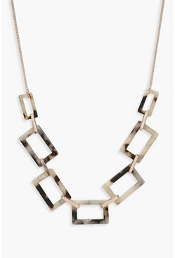 Womens Multi Rectangle Linked Resin Necklace