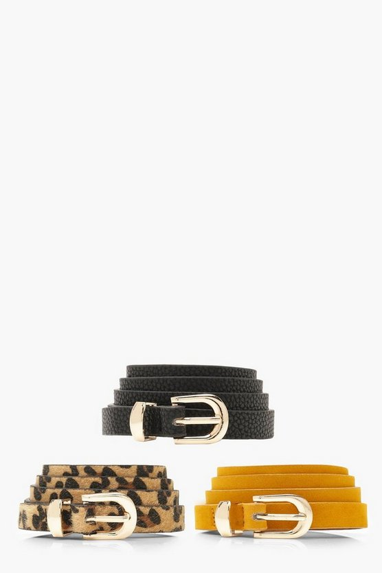 Womens Multi 3 Pack Skinny Leopard Belt