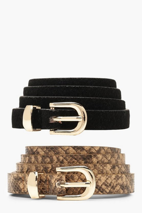 Womens Multi 2 Pack Snake Belt