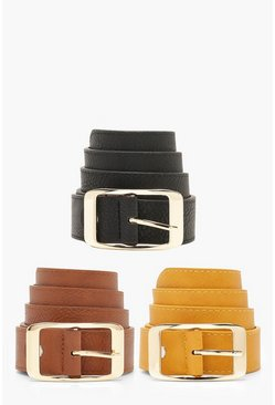 Womens Multi 3 Pack Boyfriend Belt