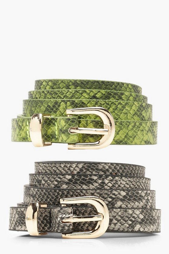 Womens Multi 2 Pack Skinny Snake Belt