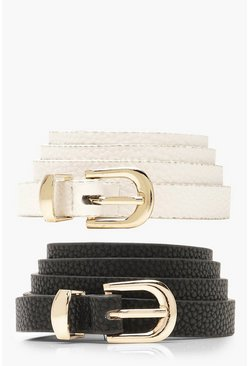 Womens Multi 2 Pack Skinny Belt