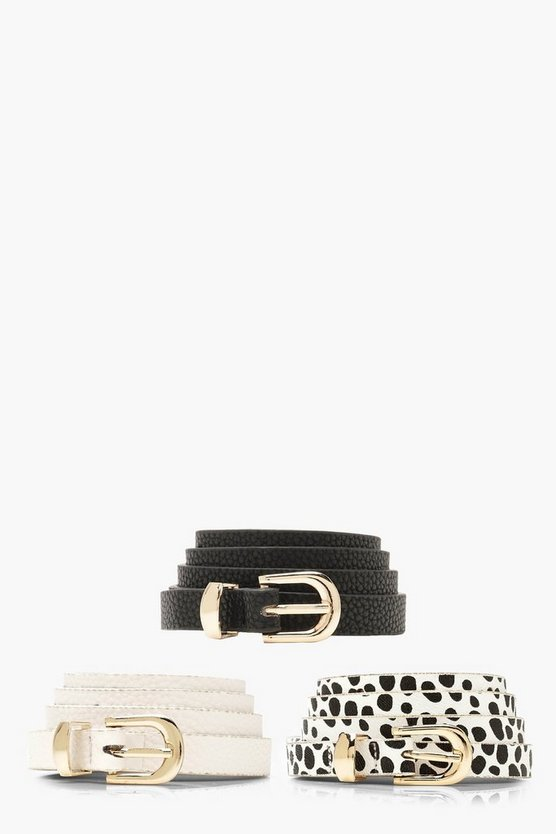 Womens Multi 3 Pack Skinny Dalmatian Belt