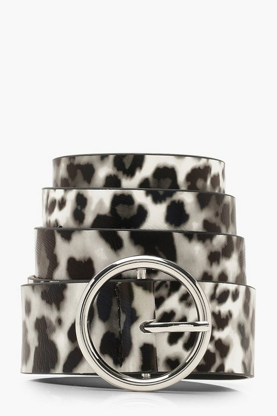 Mono Leopard Circle Ring Belt by Boohoo