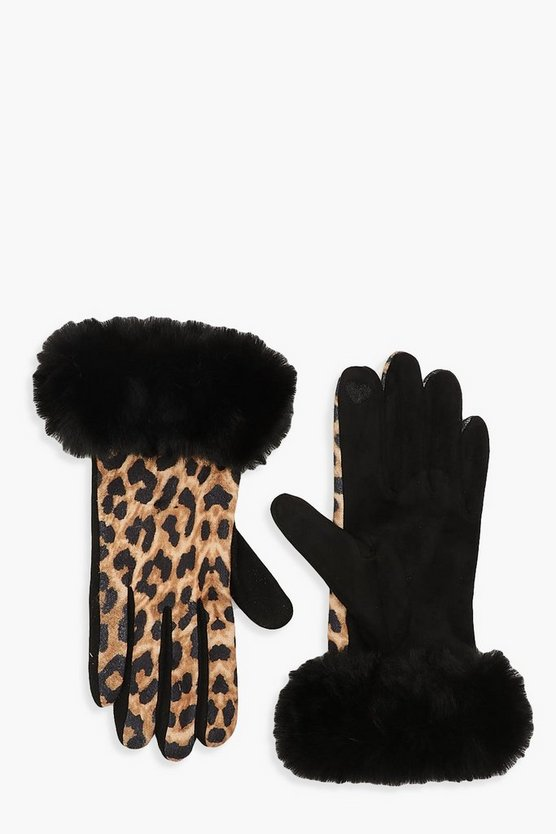 Womens Natural Faux Fur Trim Leopard Gloves