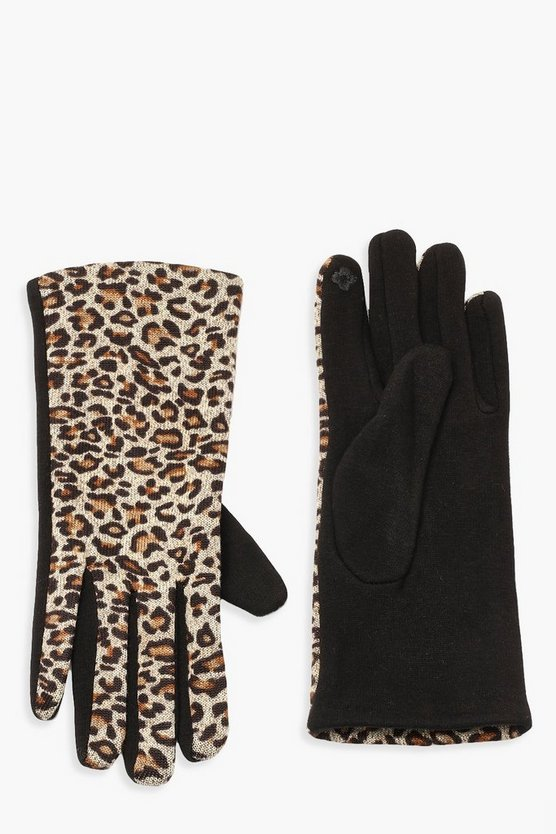 Womens Natural All Over Leopard Gloves