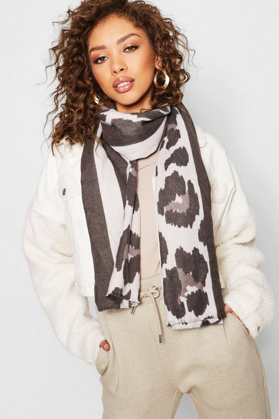 Womens Black Stripe & Leopard Heavyweight Scarf