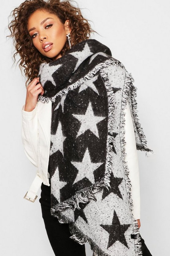 Womens Black Oversized Star Print Woven Scarf
