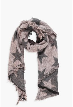 Womens Nude Oversized Star Print Woven Scarf