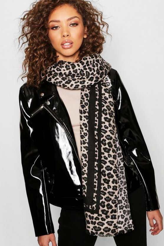Womens Black Mono Stripe Detail Leopard Scarf