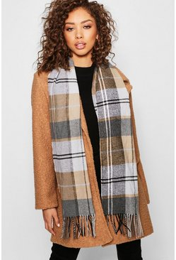 Womens Brown Block Check Heavyweight Scarf