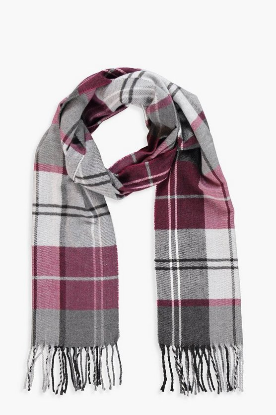 Womens Red Block Check Heavyweight Scarf