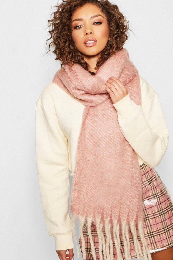 Womens Nude Boucle Heavyweight Scarf