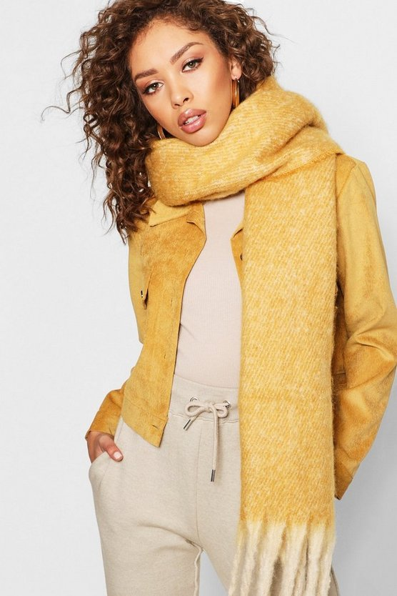 Womens Mustard Boucle Heavyweight Scarf