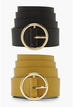 Womens Mustard 2PK Circle Buckle Belt