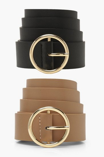 Womens Taupe 2PK Circle Belt