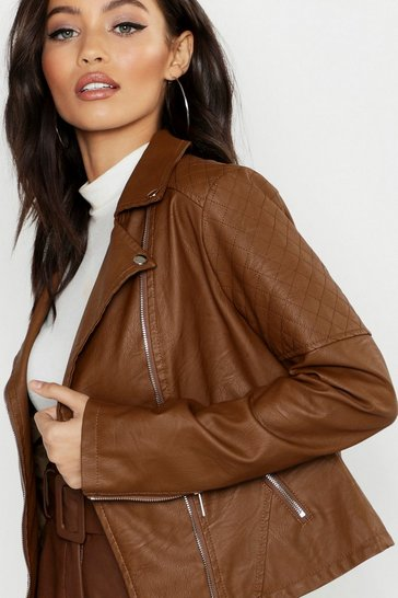 Womens Chocolate Faux Leather Biker Jacket