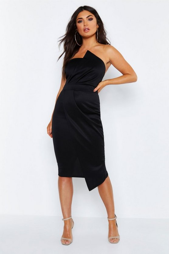 Bandeau Wrap Detail Midi Dress