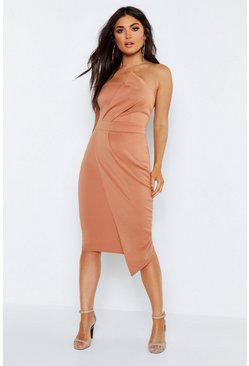 Womens Caramel Bandeau Wrap Detail Midi Dress