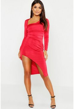 Womens Red Slinky Wrap Top Midi Dress