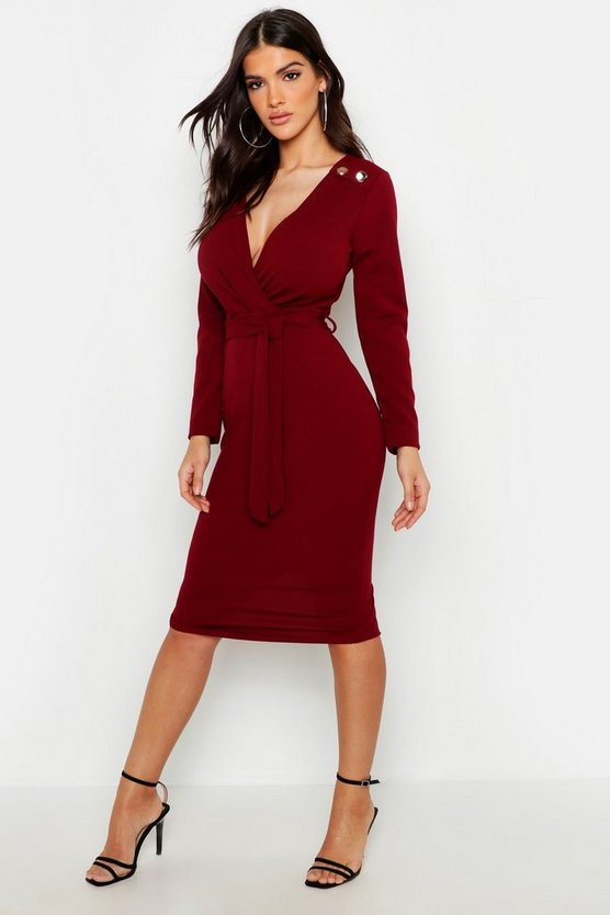 Womens Berry Button Shoulder Belted Midi Dress