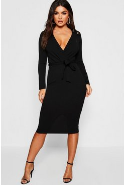 Womens Black Button Shoulder Belted Midi Dress