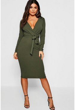 Dam Khaki Button Shoulder Belted Midi Dress