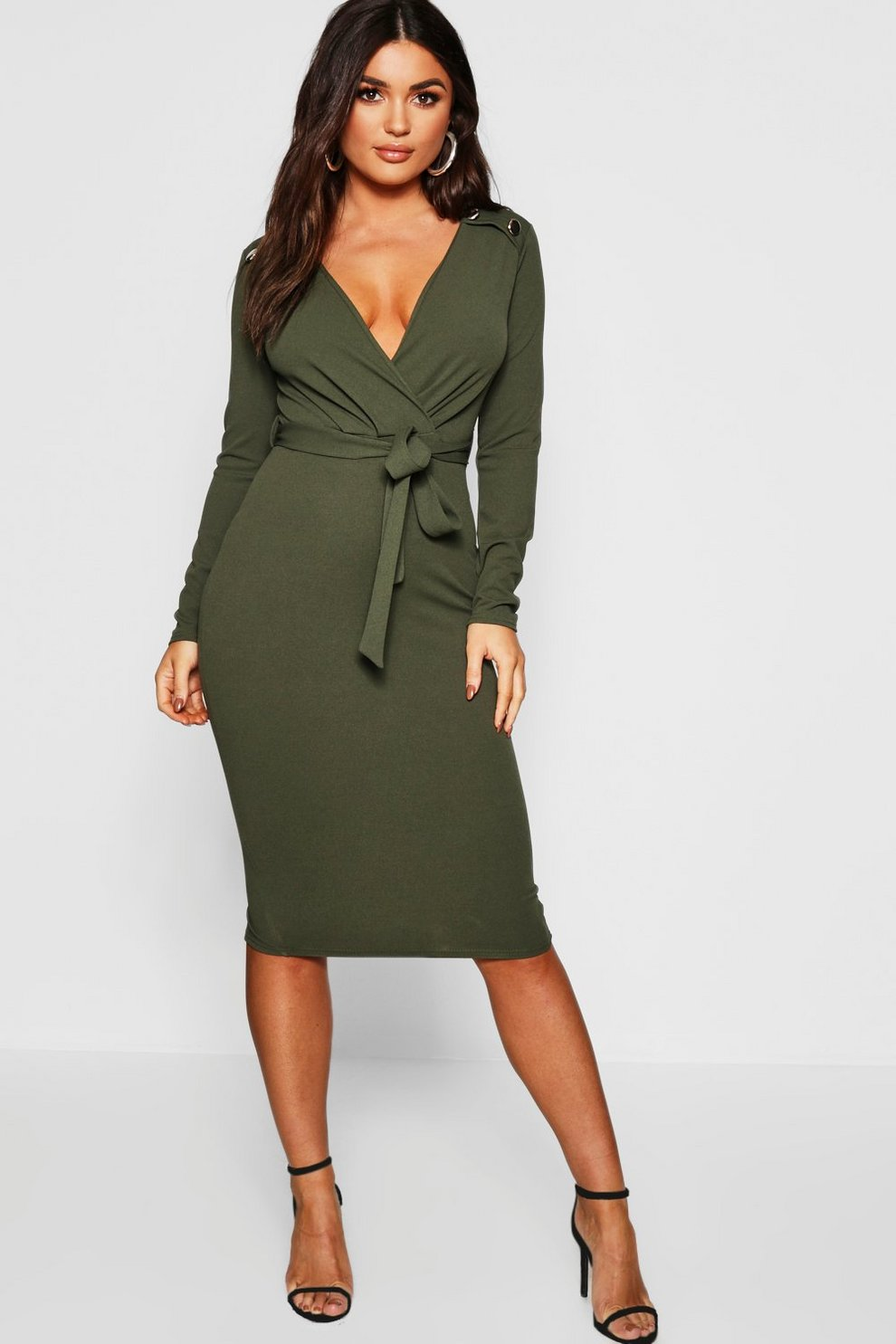 ece4d1cb08bc Womens Khaki Button Shoulder Belted Midi Dress. Hover to zoom