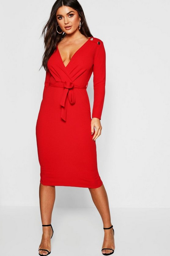 Womens Red Button Shoulder Belted Midi Dress
