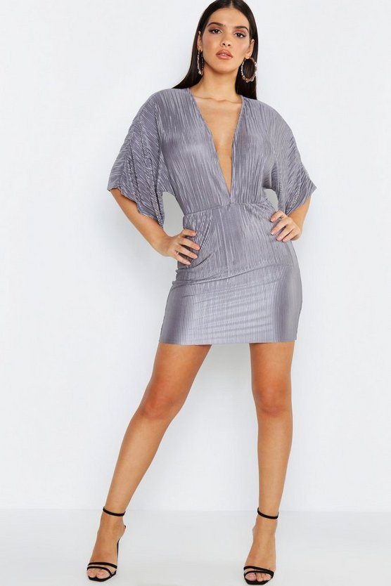 Pleated Kimono Sleeve Bodycon Dress