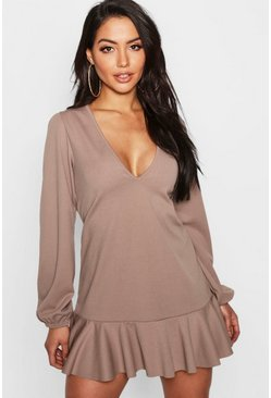 Mocha Blouson Sleeve Flute Hem Shift Dress