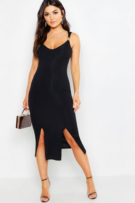 Black Rib Trim Detail Midi Dress