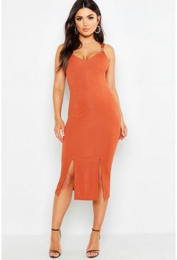 Womens Rust Rib Trim Detail Midi Dress