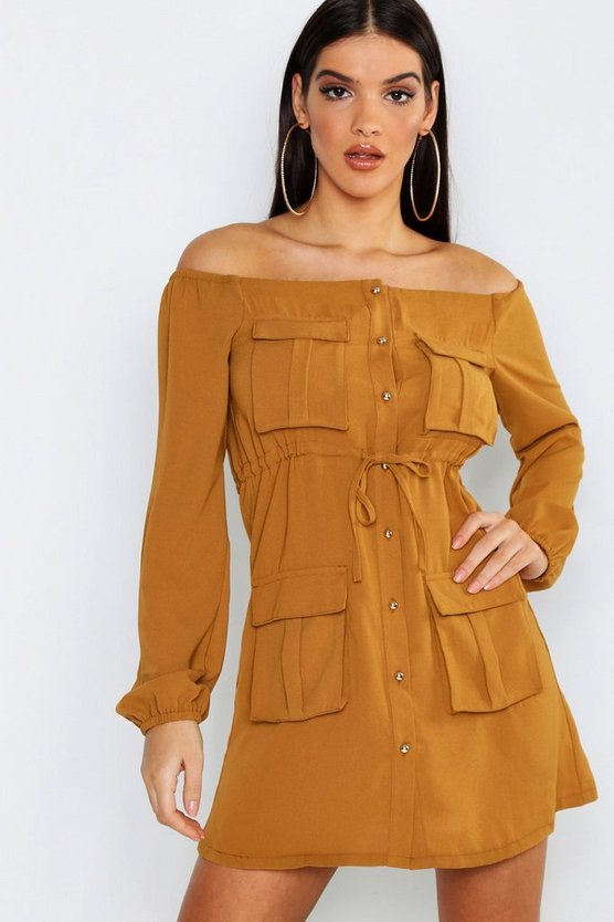 Womens Terracotta Off The Shoulder Pocket Shirt Dress