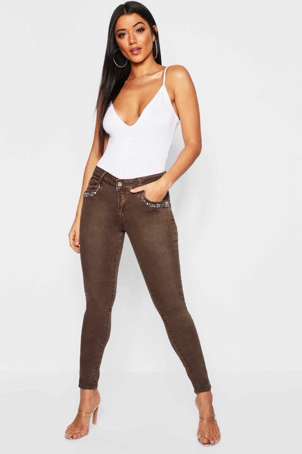 Mid Rise Embellished Front Skinny Jeans