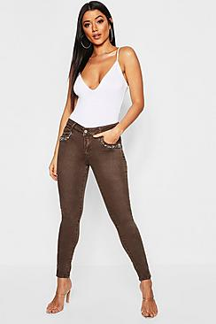 Mid Rise Embellished Front Skinny Jeans
