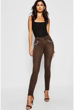 Womens Mid Rise Embellished Front Skinny Jeans