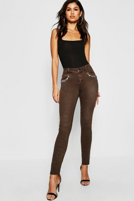 Womens Khaki Mid Rise Embellished Front Skinny Jeans